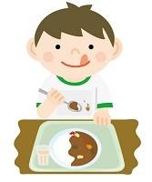 カレーを食べている子供のイラスト